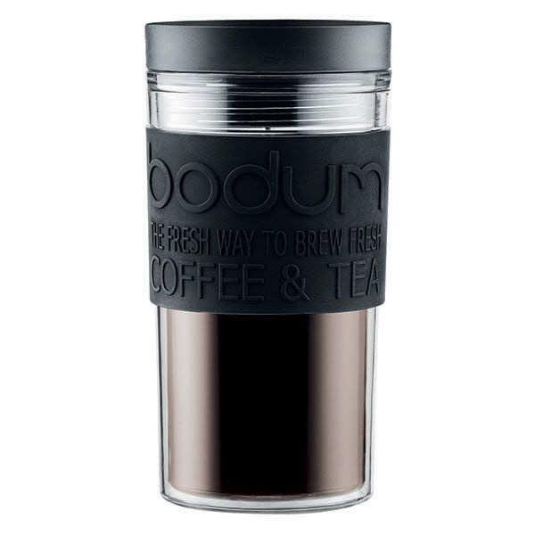 Bodum Mug de voyage isotherme en plastique noir avec couvercle à vis 45cl - Travel Mug - Mug 45cl