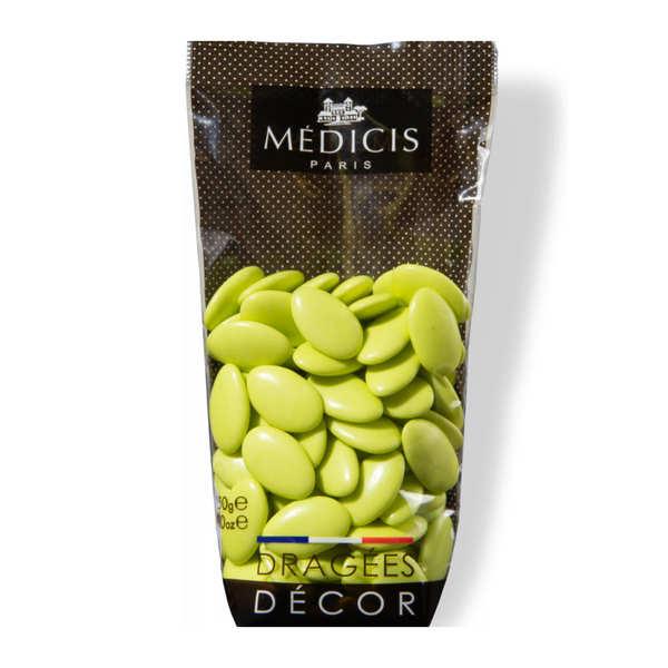 Dragées Médicis Dragées décor au chocolat noir 70% vert anis - Sachet 250g