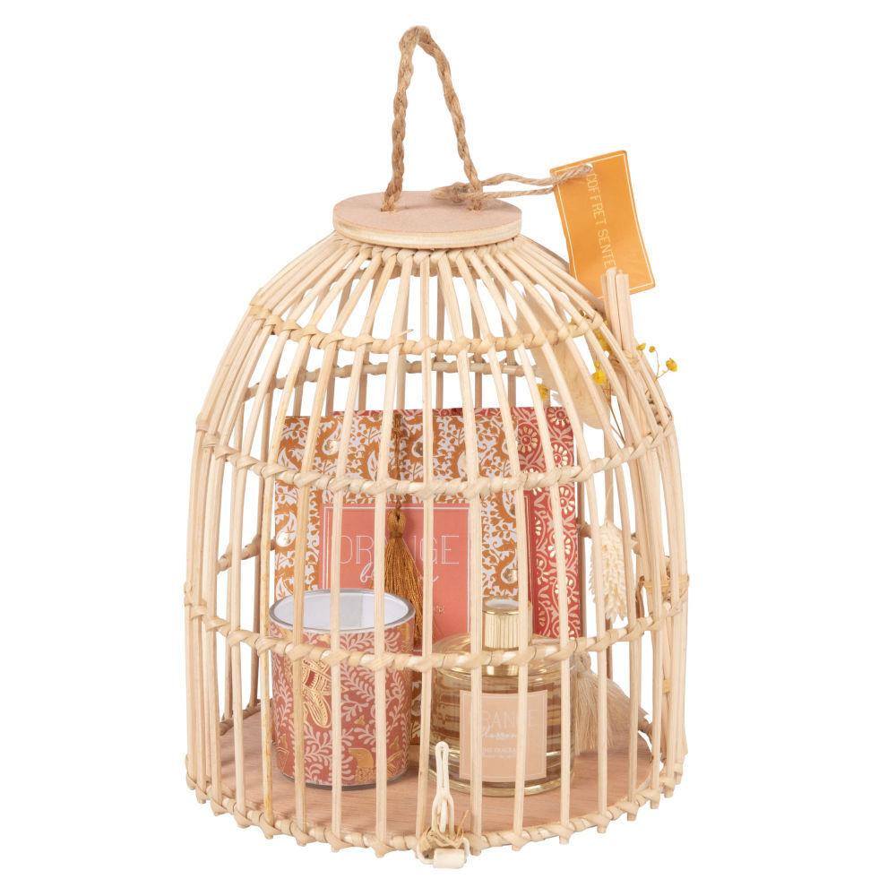 Maisons du Monde Coffret cage diffuseur, bougie et sachets parfumés rose et doré