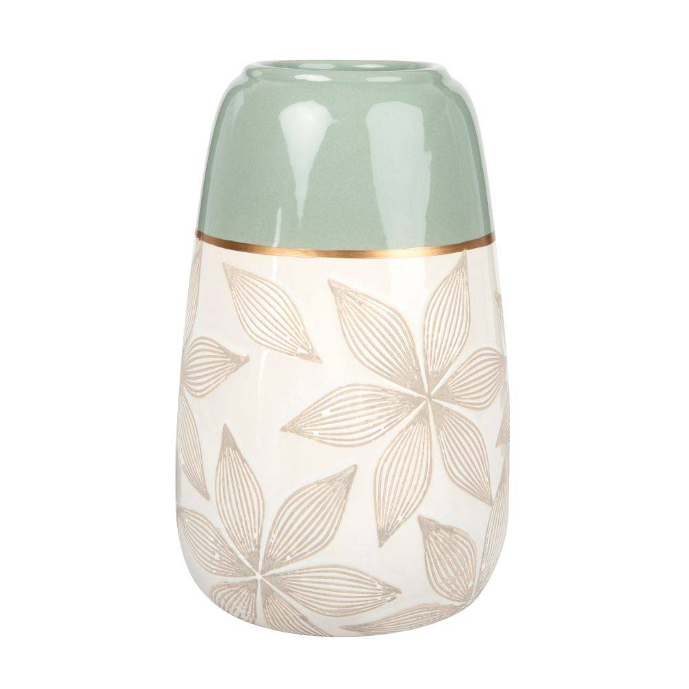 Maisons du Monde Vase en céramique écrue et vert amande motif floral gravé H22