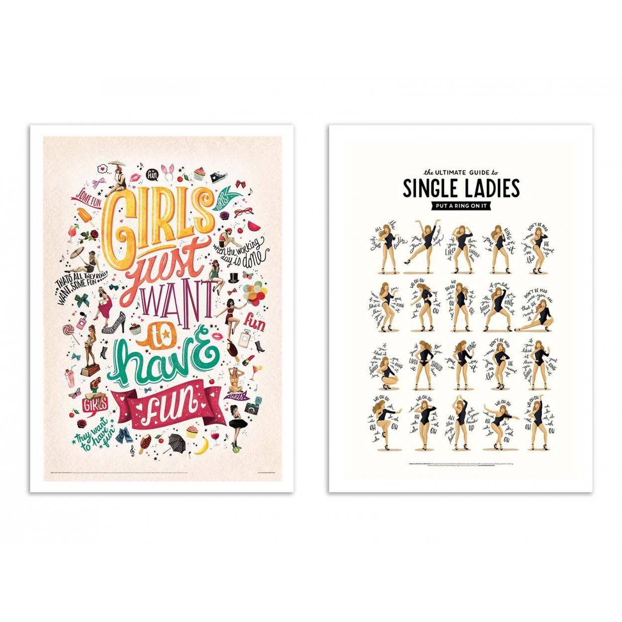 Wall Editions SINGLE LADIES, GIRLS WANNA HAVE FUN -  2 Affiches d'art 30 x 40 cm