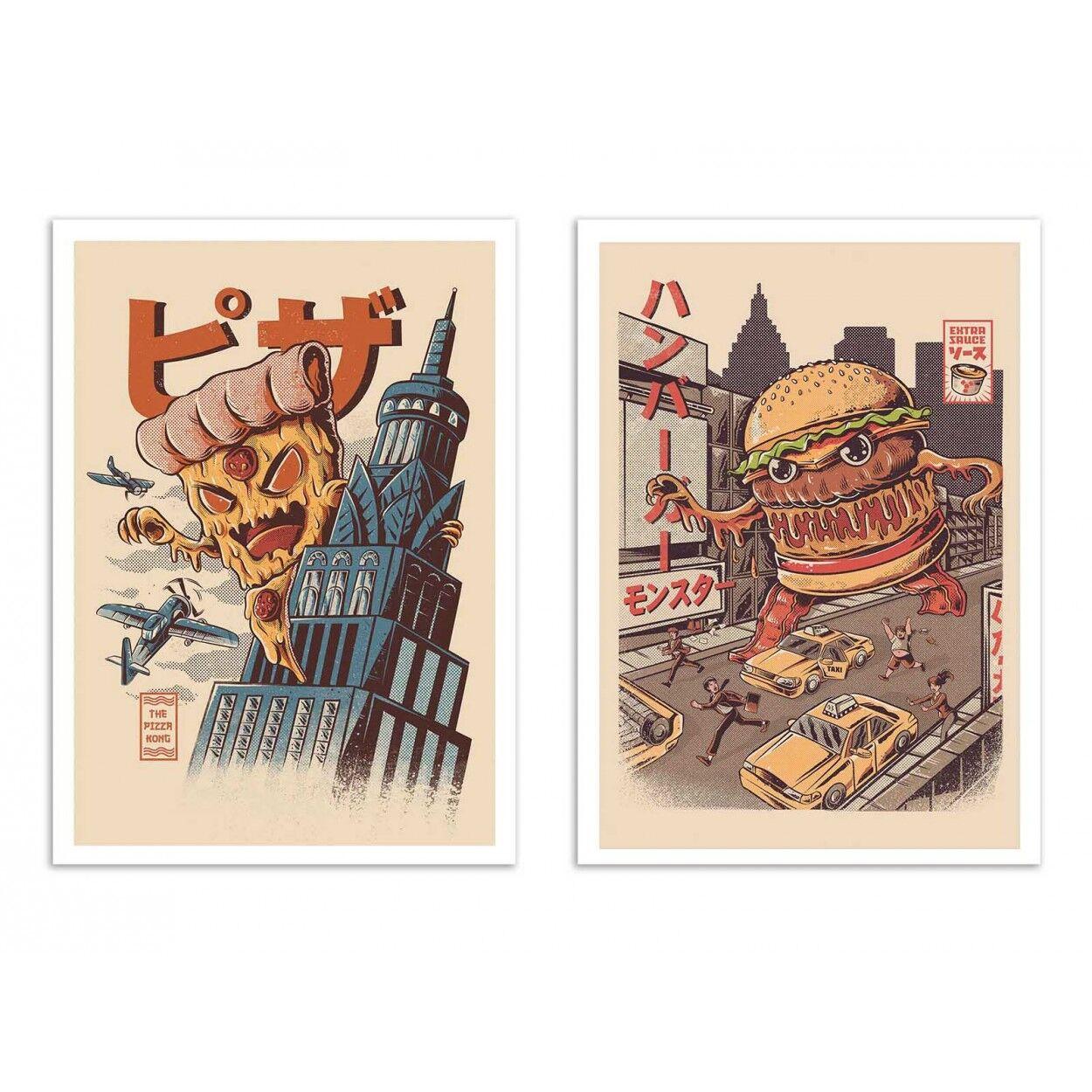 Wall Editions BURGERZILLA AND PIZZA KONG -  2 Affiches d'art 30 x 40 cm