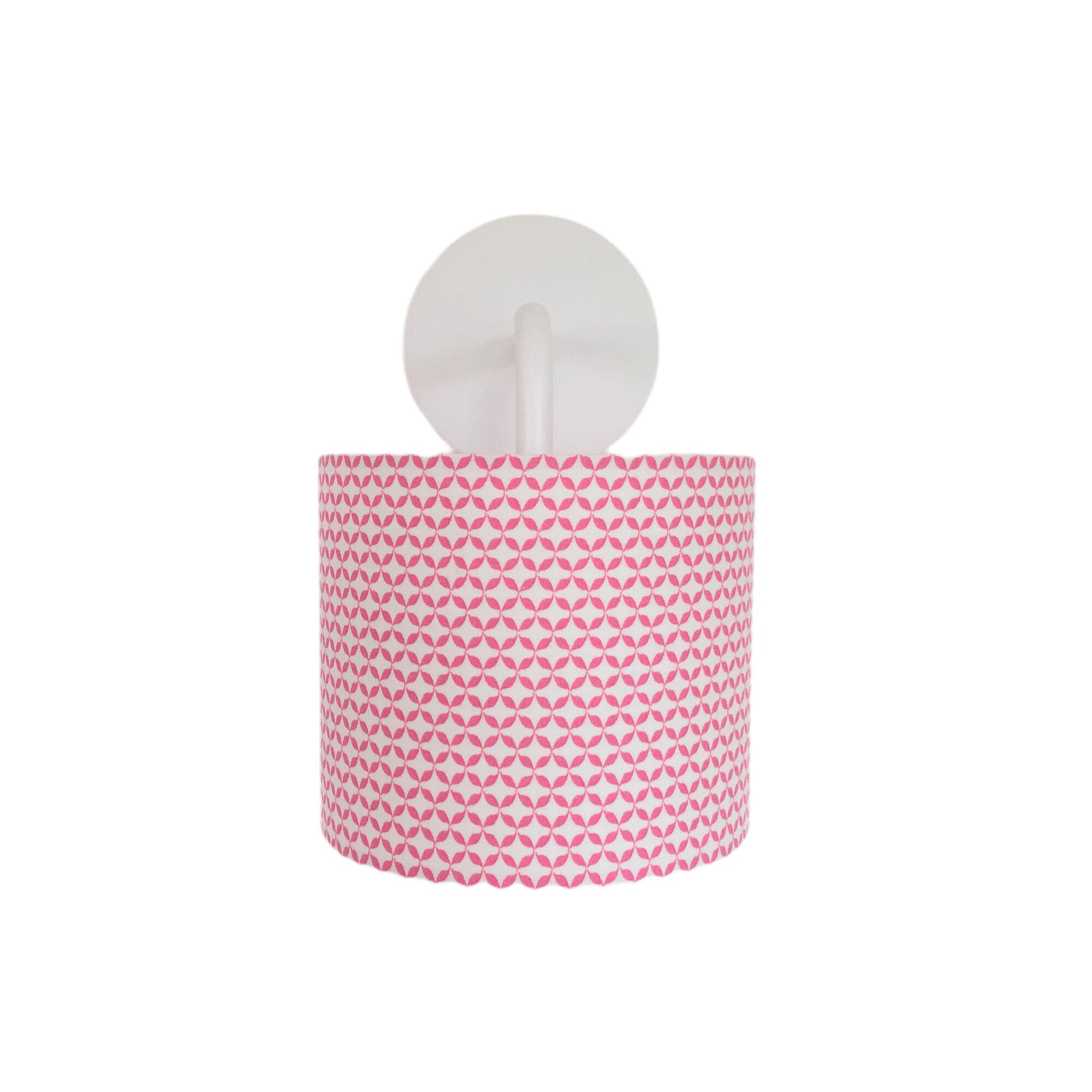 Belamp Applique metal blanc tissu cottage rose
