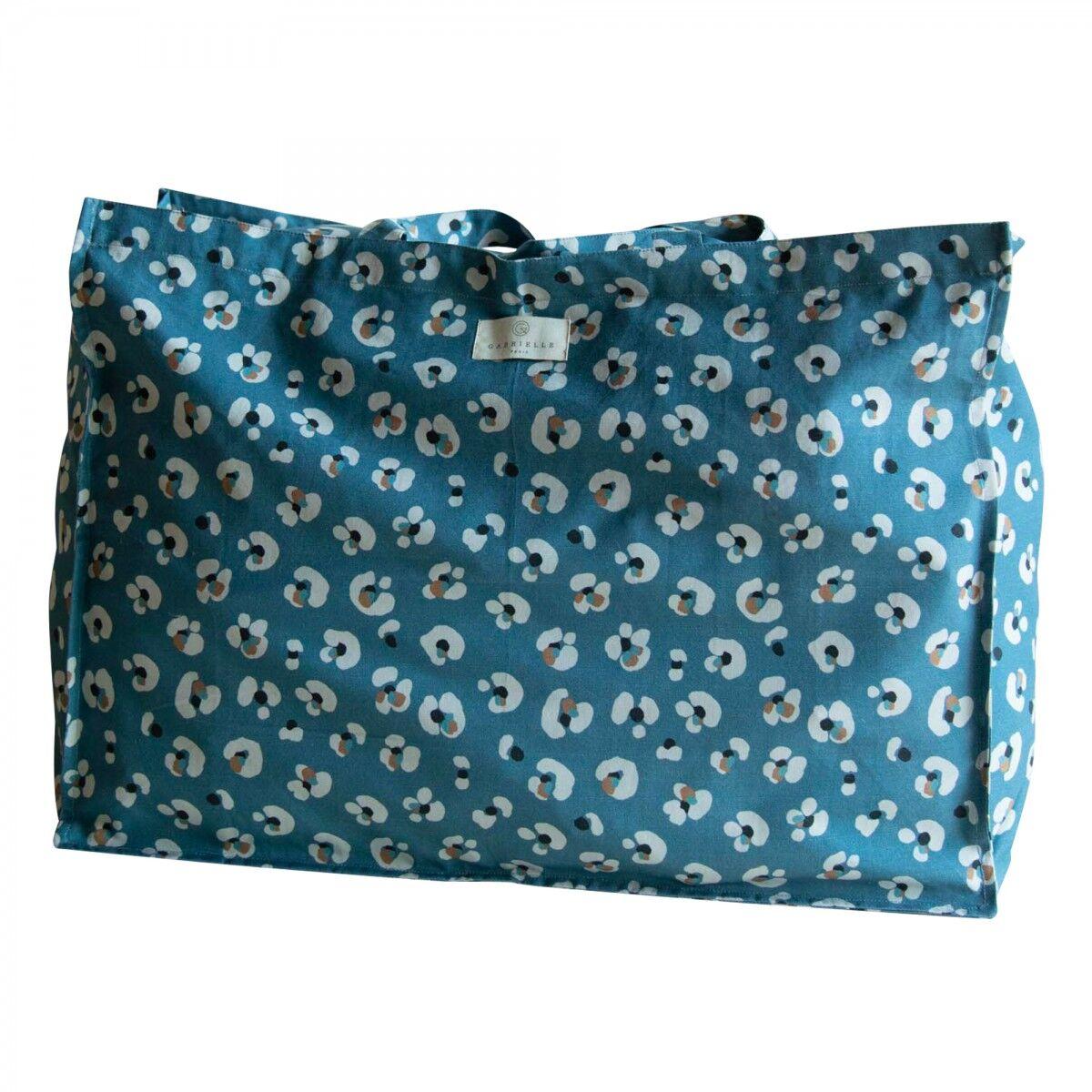 Gabrielle Paris Sac cabas en coton imprimé léopard bleu foncé