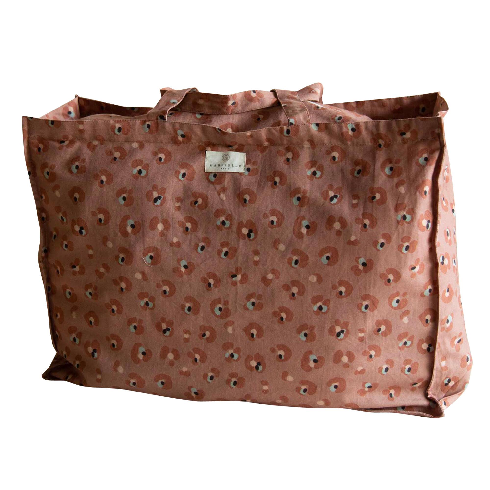 Gabrielle Paris Sac cabas en coton imprimé léopard terracotta