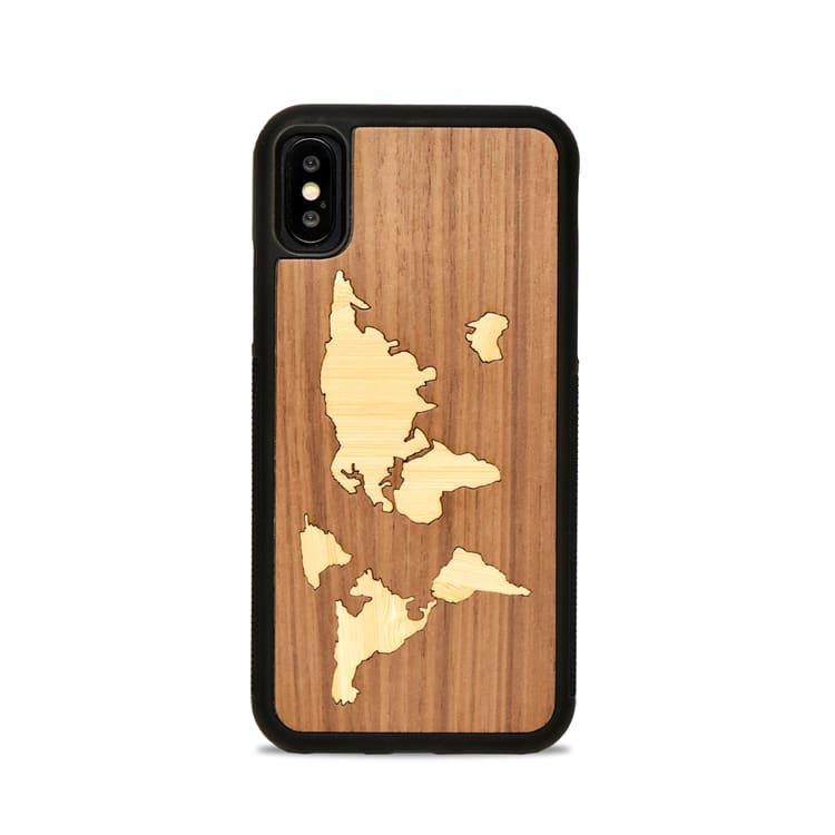 Coque en Bois MAPPEMONDE - Coque en bois pour iPhone X/XS
