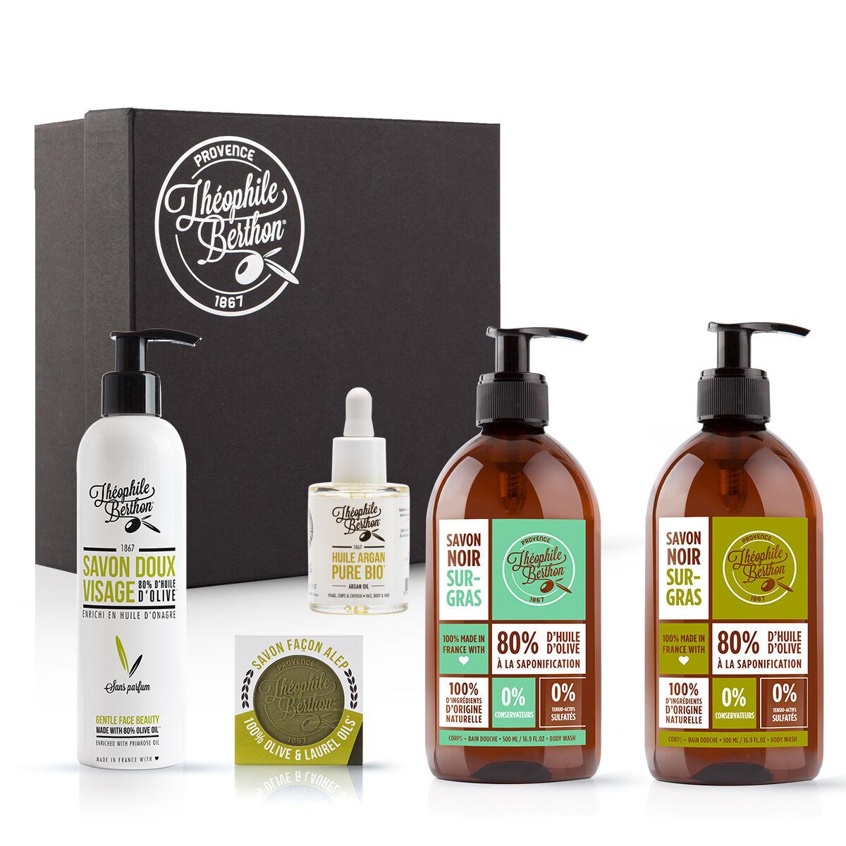 Théophile Berthon Coffret pureté - 5 Soins visage corps et savons à l'huile d'olive