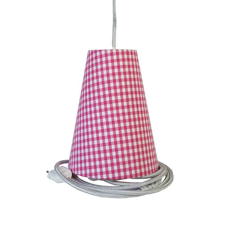 Ambiances & Toiles Suspension baladeuse vichy rose fushia/cordon textile argent, H 19cm
