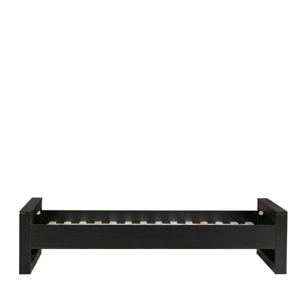Woood Cadre de lit en bois fsc 90x200 noir