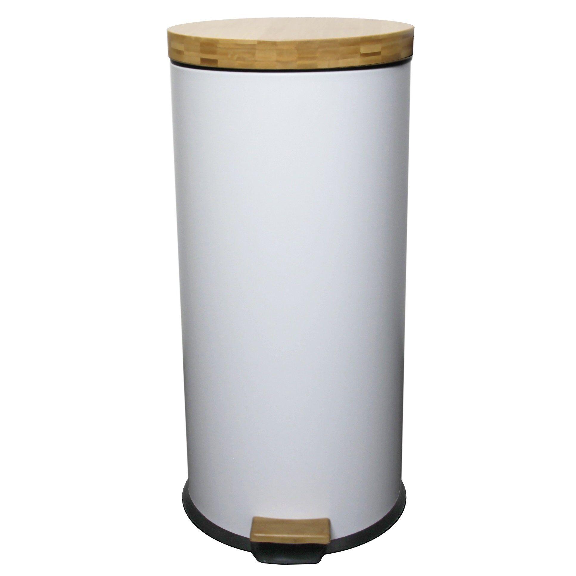 Kitchen Move Poubelle de cuisine  pédale bois et acier blanc 30L