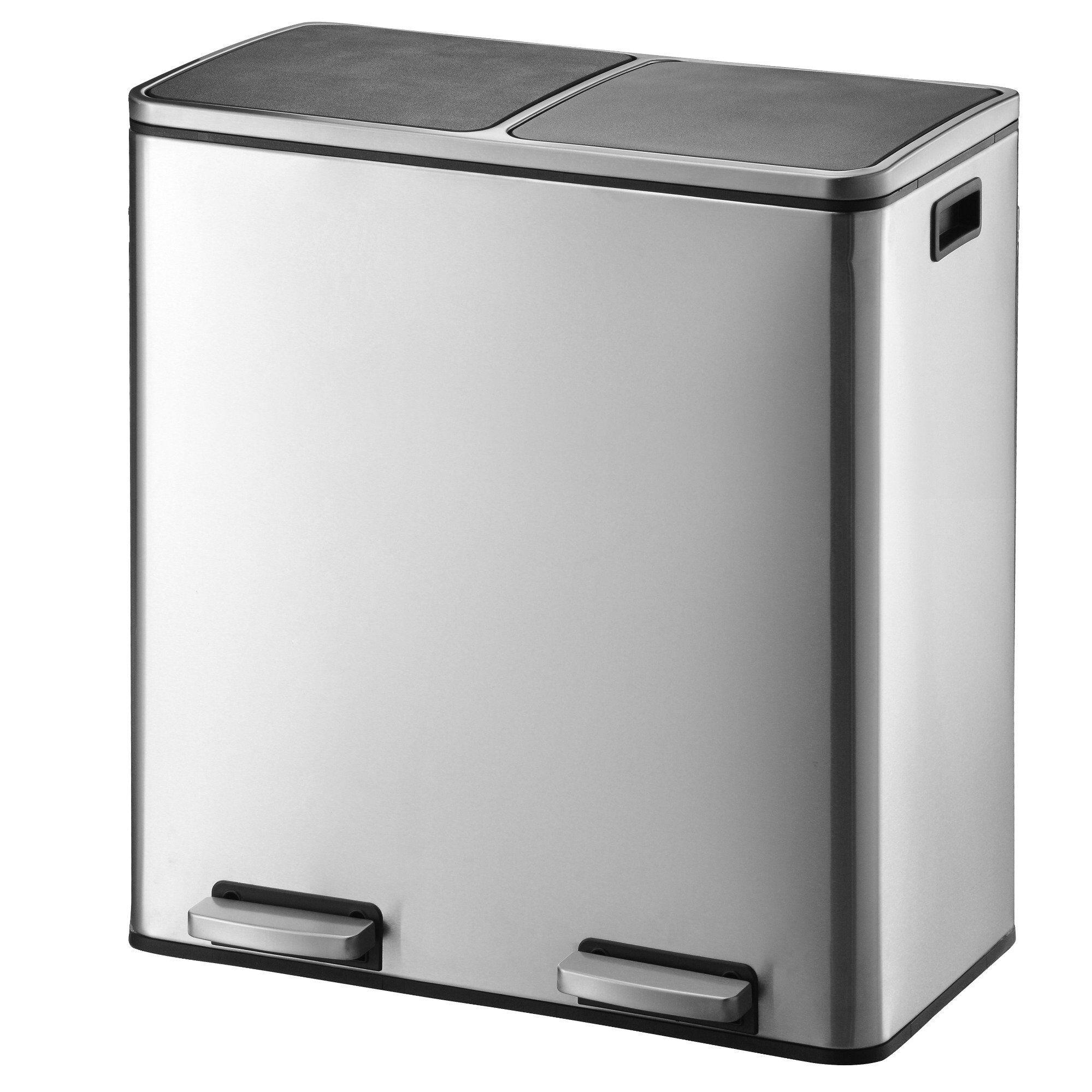 Kitchen Move Poubelle tri sélectif inox gris 60L
