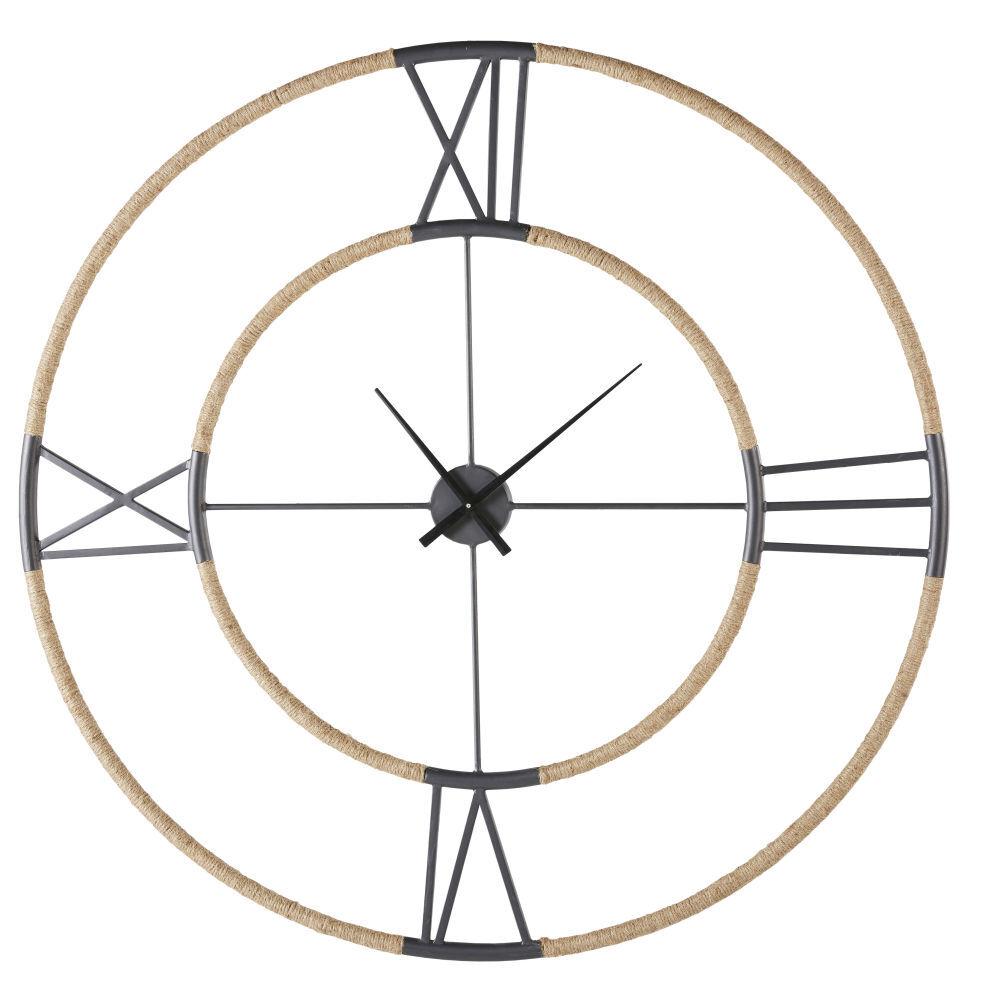 Maisons du Monde Horloge en métal noir effet vieilli et corde D103