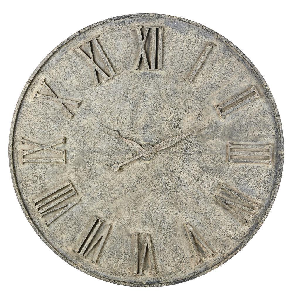 Maisons du Monde Déco horloge factice en métal gris effet vieilli D160