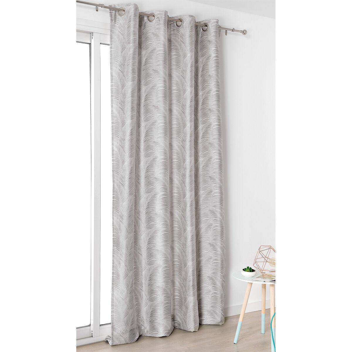 Linder Rideau  oeillets aux motifs palmes polyester gris clair 250x145