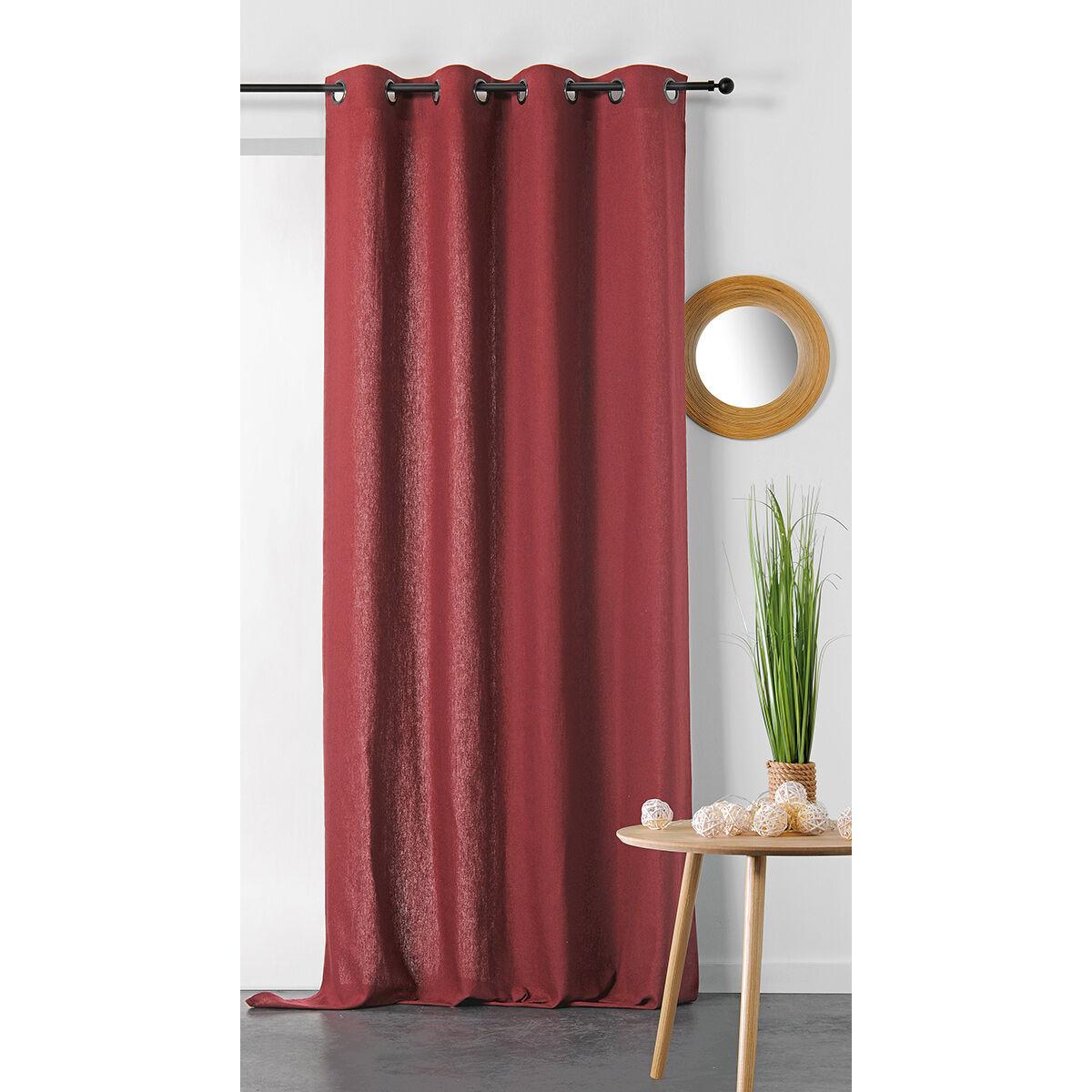 Linder Rideau en coton et chanvre coton rouge 240x135