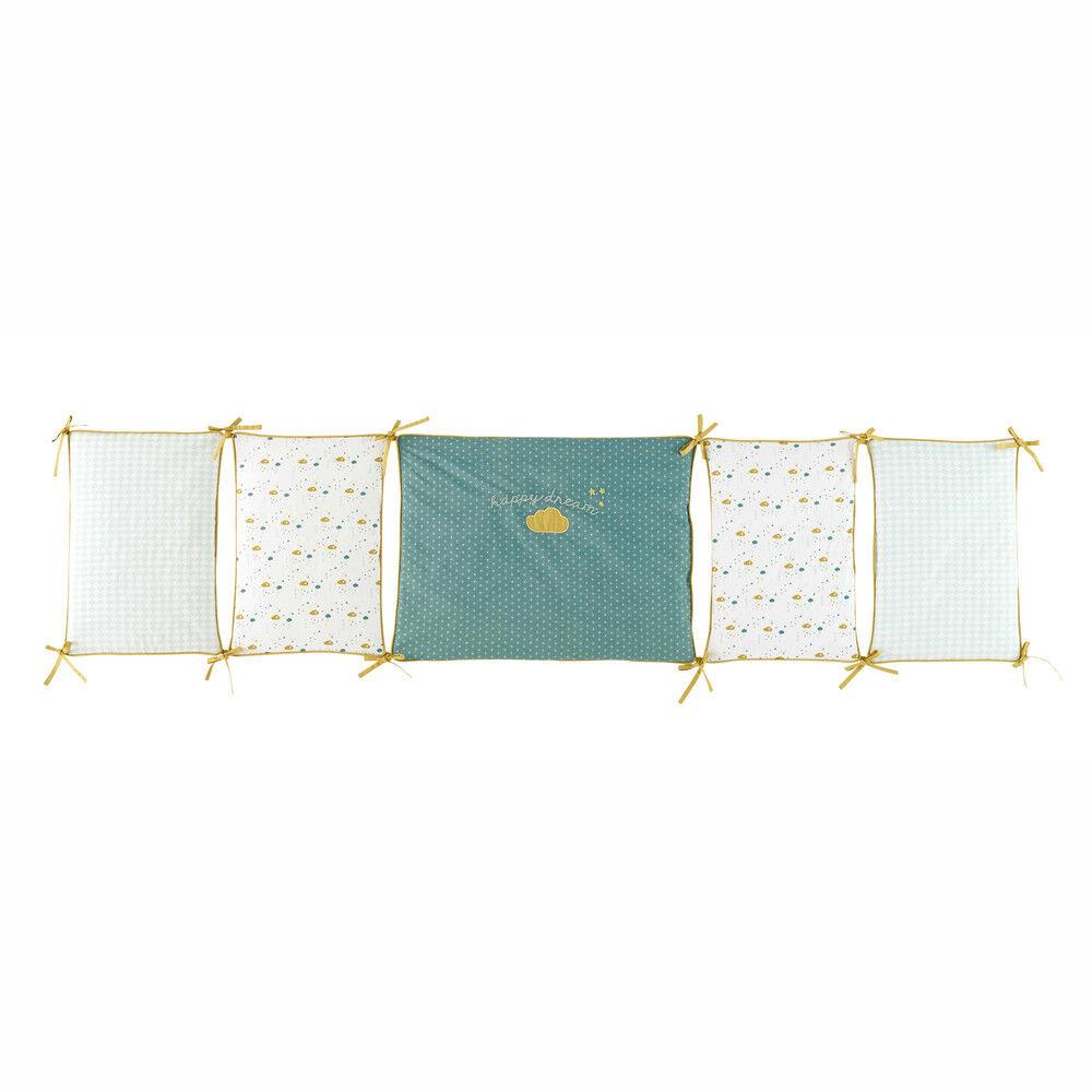 Maisons du Monde Tour de lit bébé en coton blanc, bleu et jaune moutarde