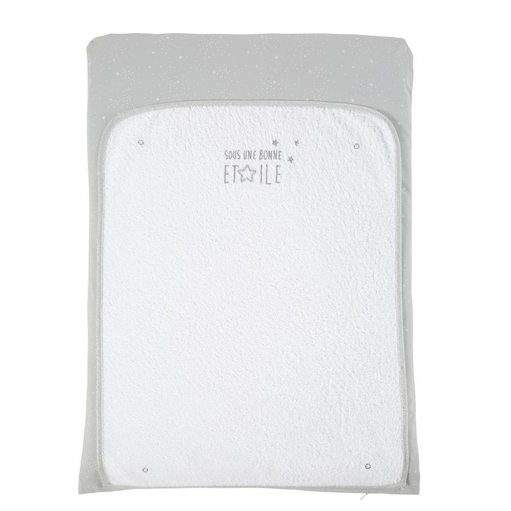 Maisons du Monde Matelas  langer bébé en coton gris et blanc
