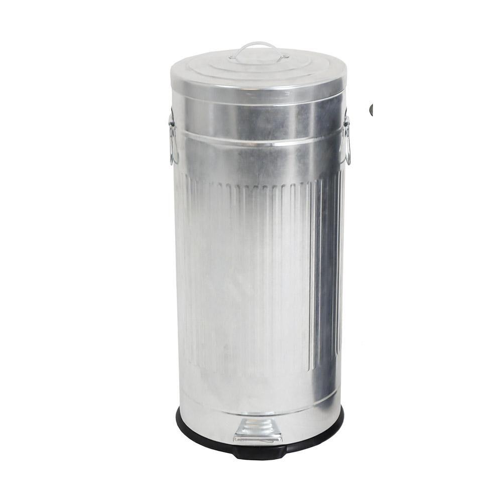 Kitchen Move Poubelle de cuisine  pédale acier galvanisé gris 30L