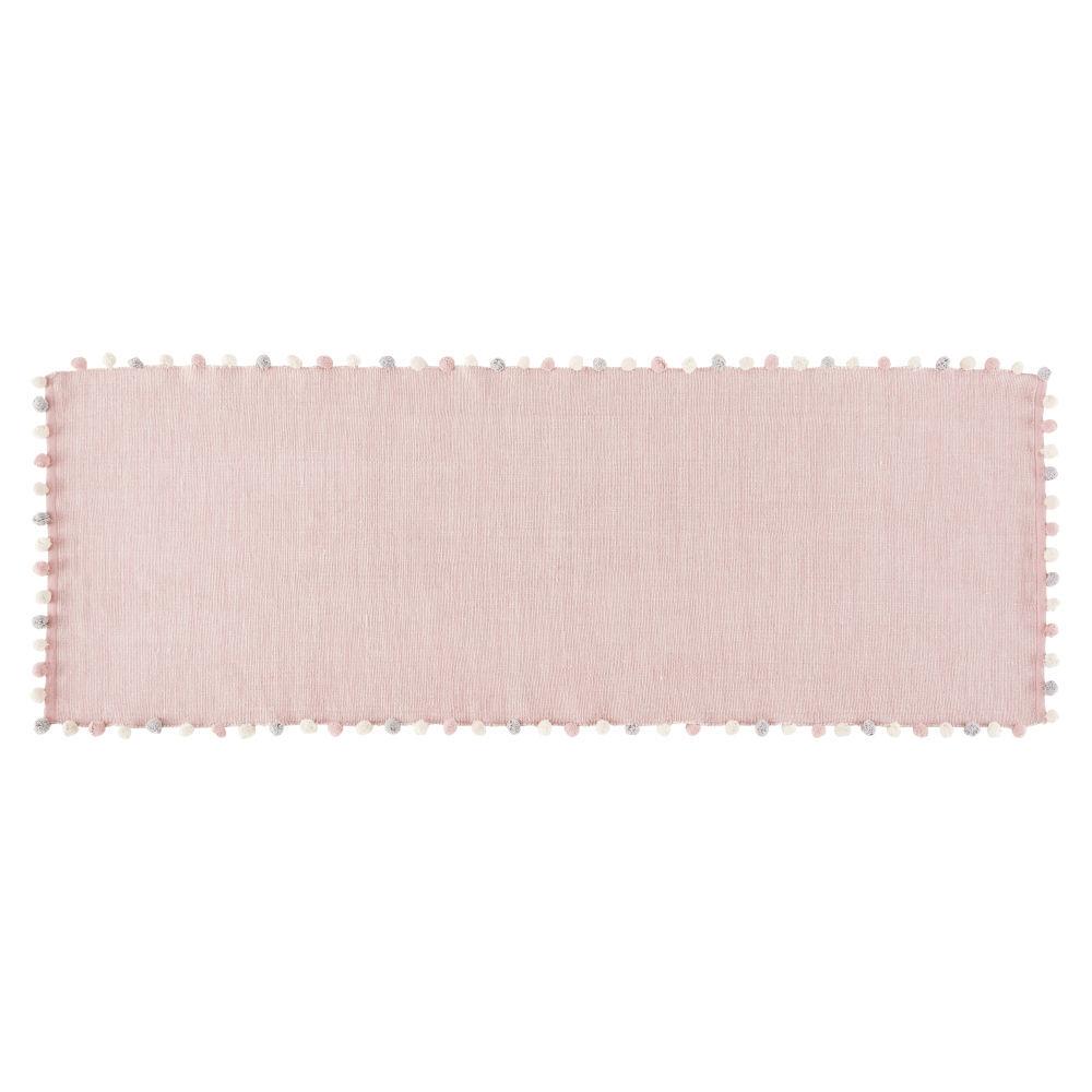 Maisons du Monde Tapis  pompons en coton rose 80x200