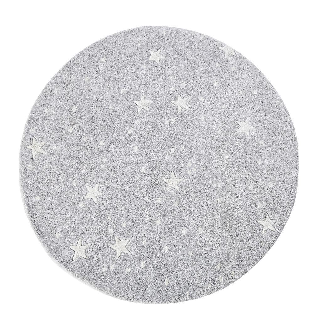 Maisons du Monde Tapis rond tufté gris motifs étoiles écrues D100