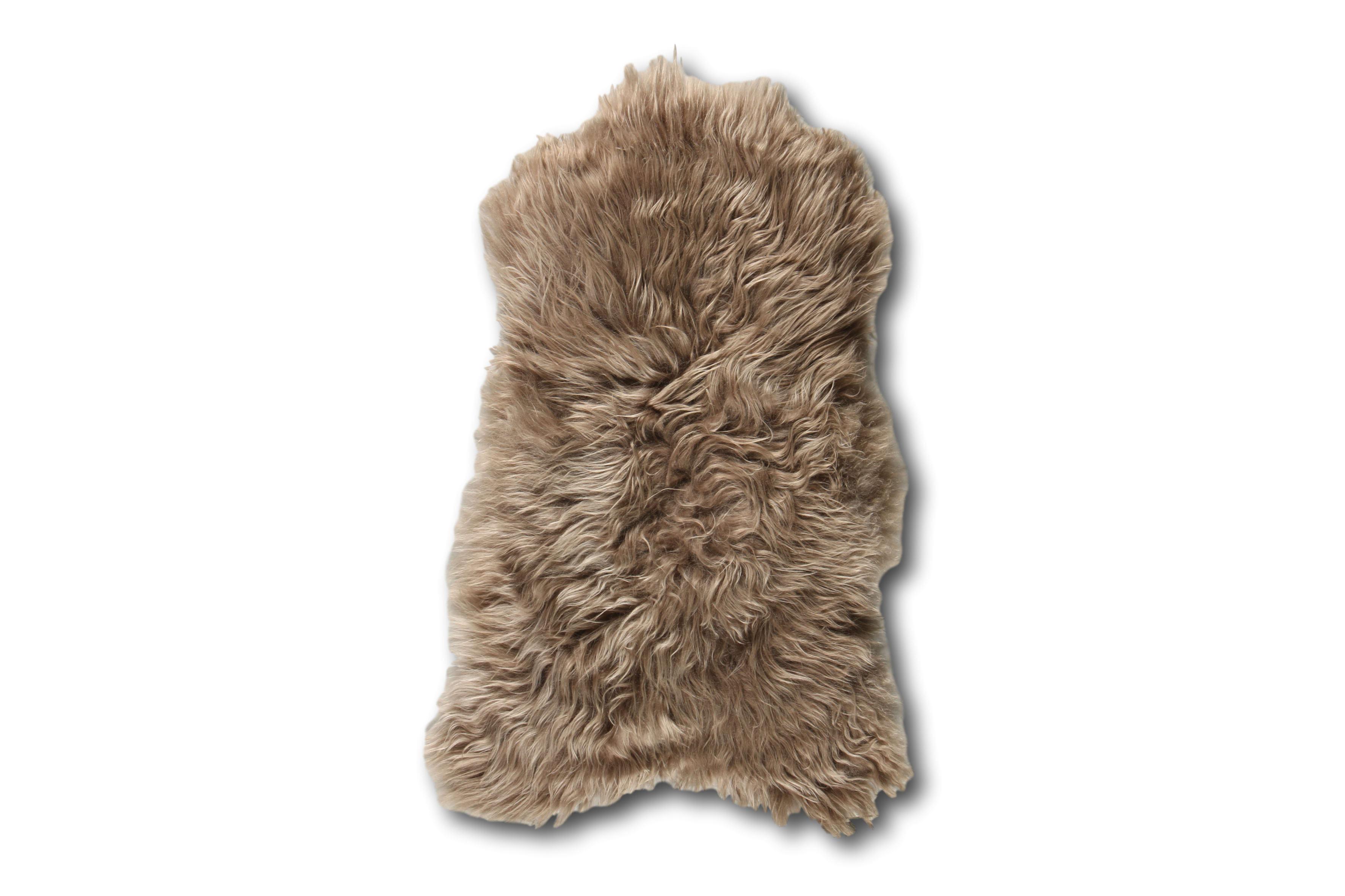 Esbeco Tapis en peau de mouton islandais taupe 90x60