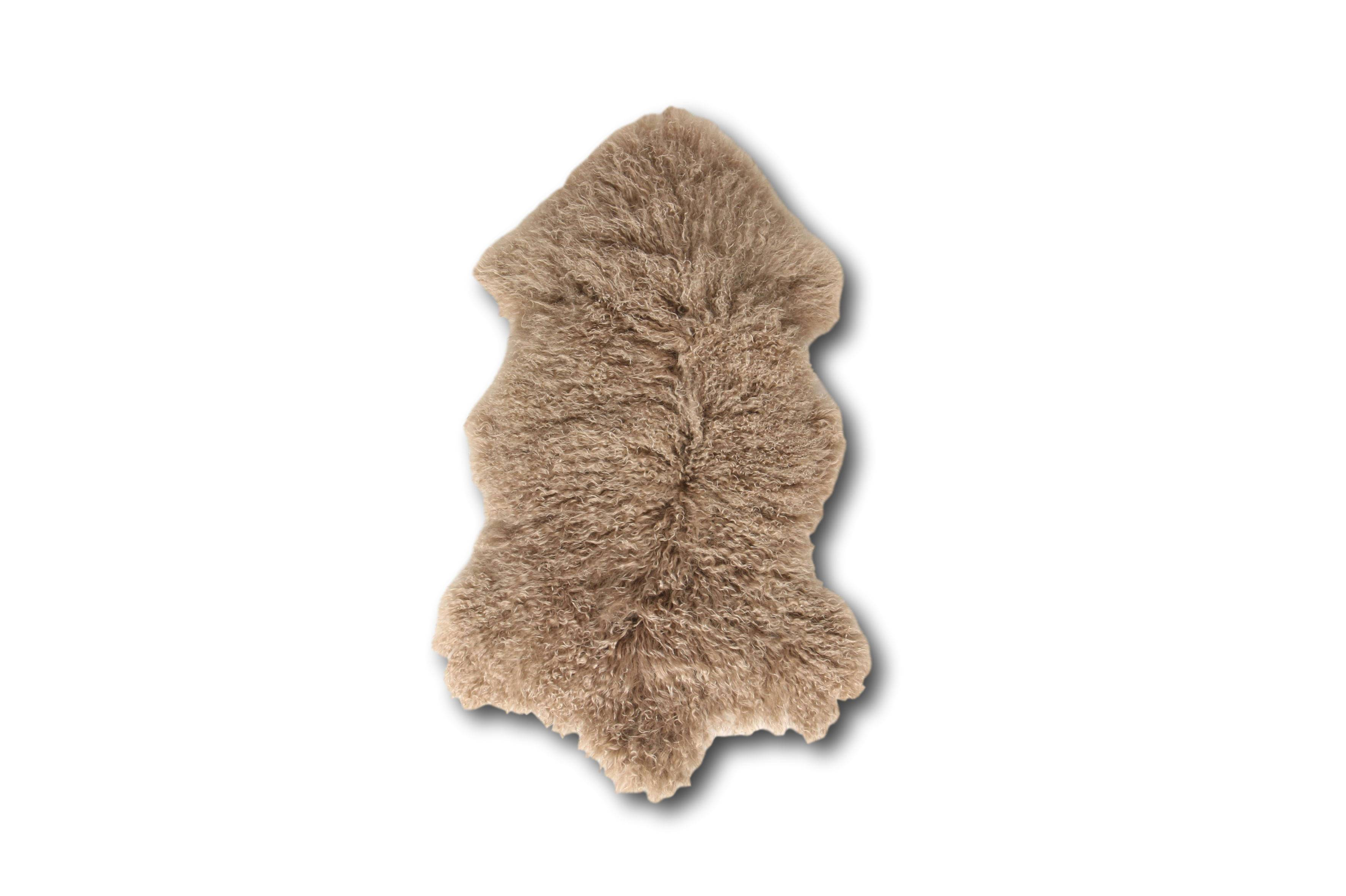 Esbeco Tapis en peau de mouton tibétain curl taupe 80x50
