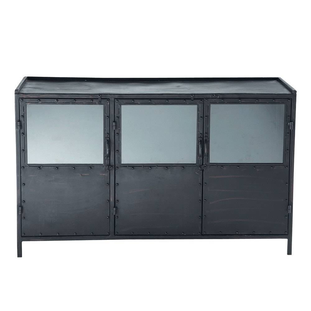 Maisons du Monde Buffet indus vitré en métal noir L 130 cm Edison