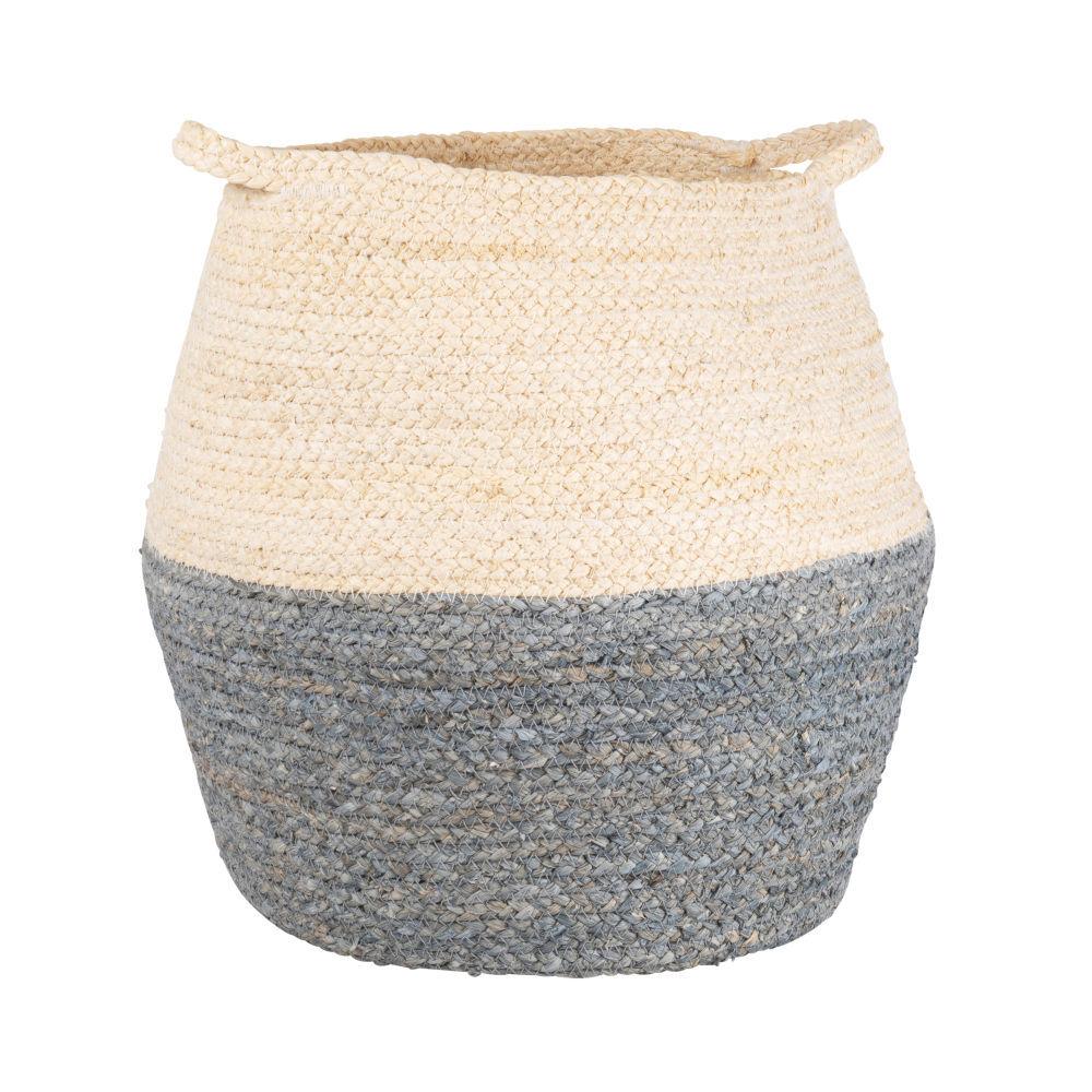 Maisons du Monde Panier en fibre de maïs coloris naturel, bleu et gris
