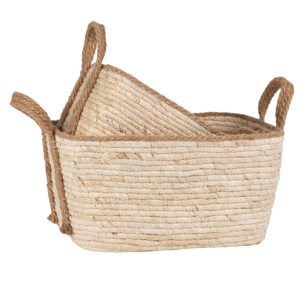 Maisons du Monde Paniers en fibre de maïs tressé (x2)