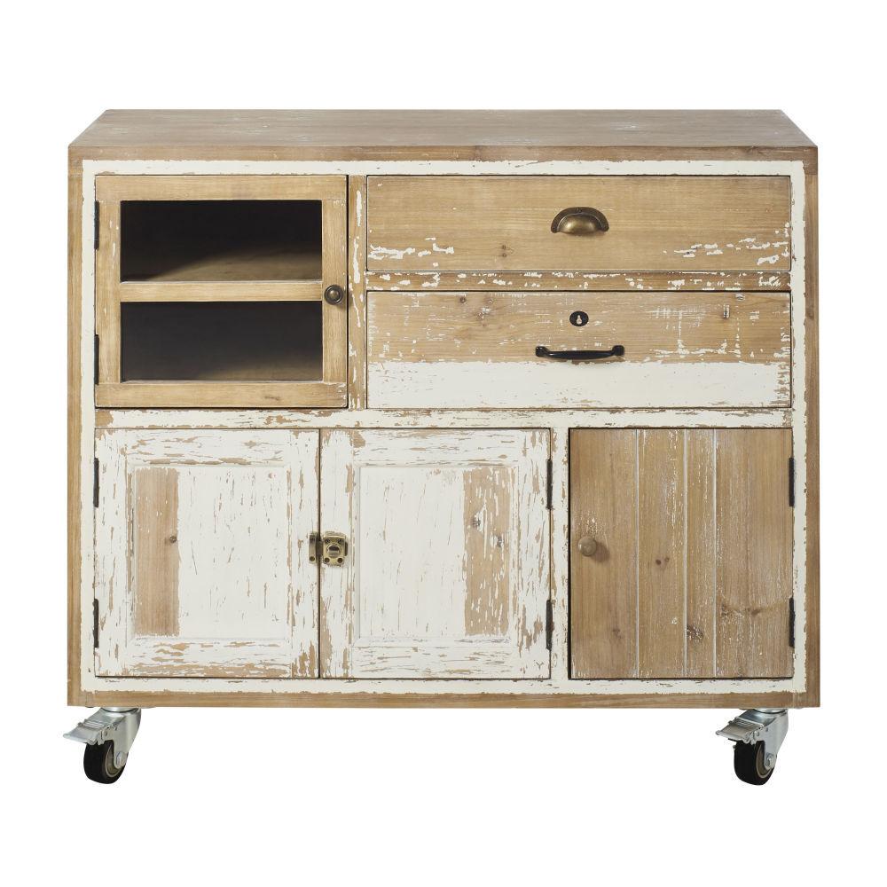 Maisons du Monde Cabinet de rangement 4 portes 2 tiroirs en pin recyclé blanchi  roulettes