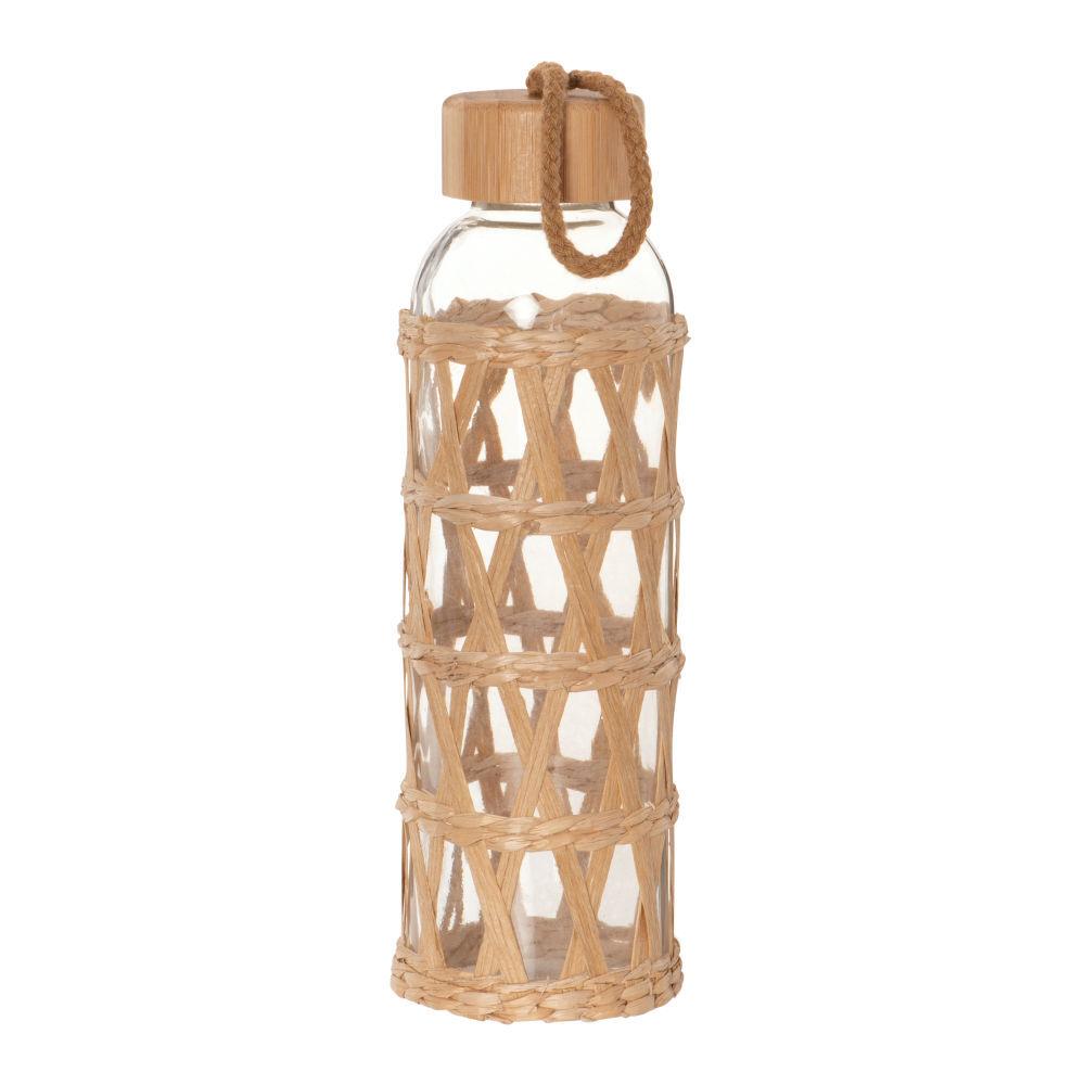 Maisons du Monde Gourde en verre, bambou et fibre végétale tressée 0.5 L