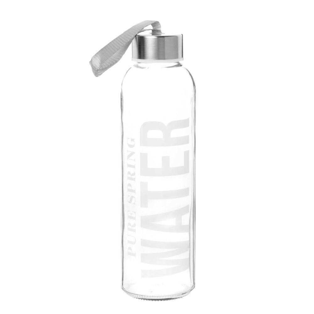 Maisons du Monde Gourde en verre imprimé blanc