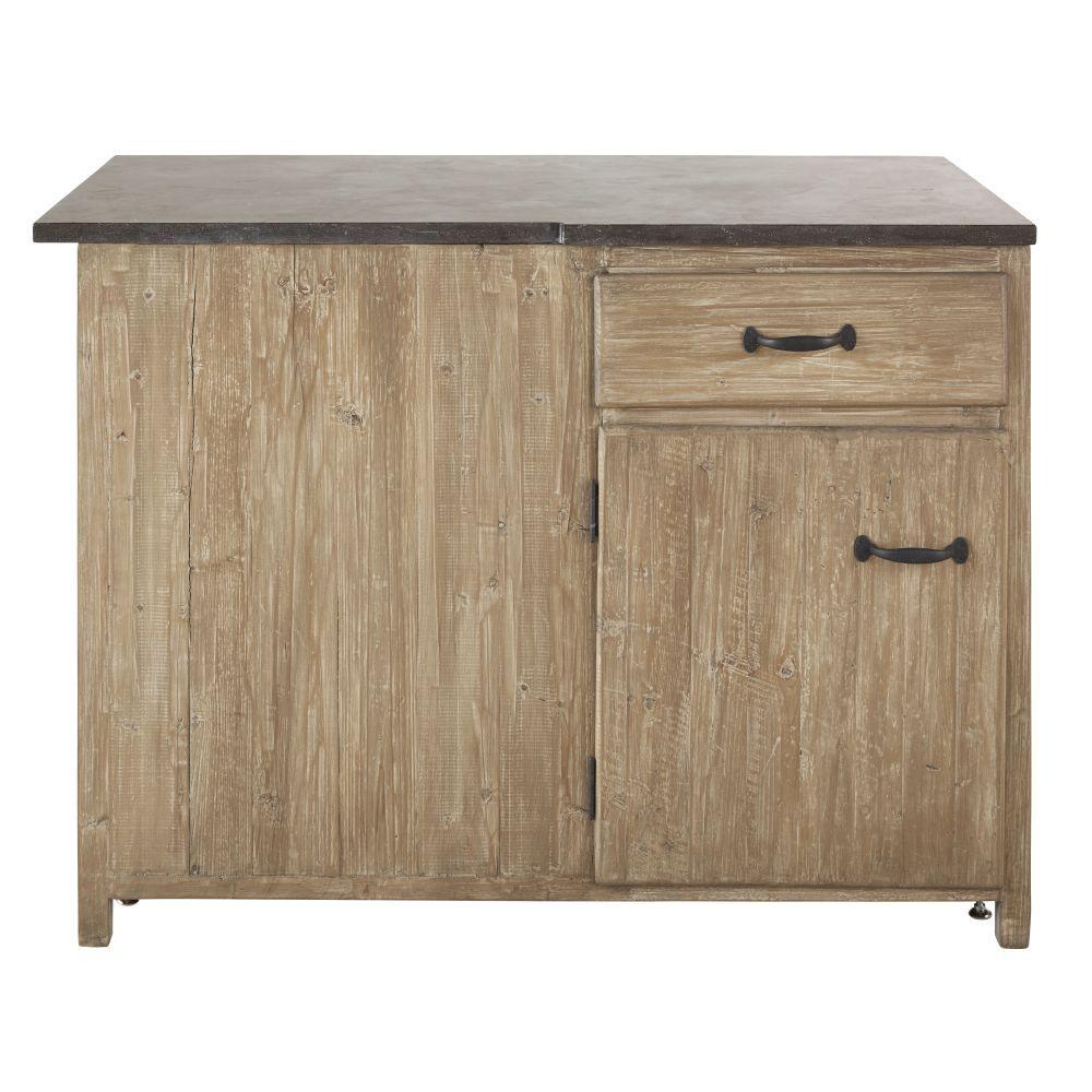 Maisons du Monde Meuble bas d'angle droit de cuisine 1 porte 1 tiroir en pin recyclé grisé