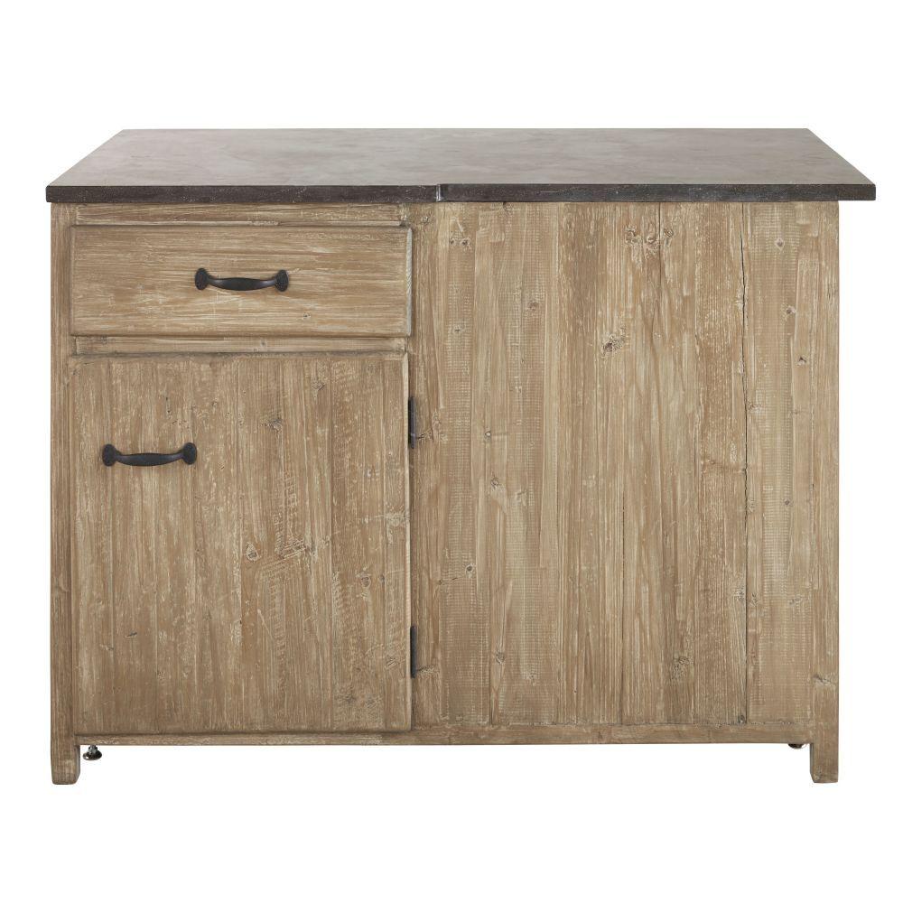 Maisons du Monde Meuble bas d'angle gauche de cuisine 1 porte 1 tiroir en pin recyclé grisé