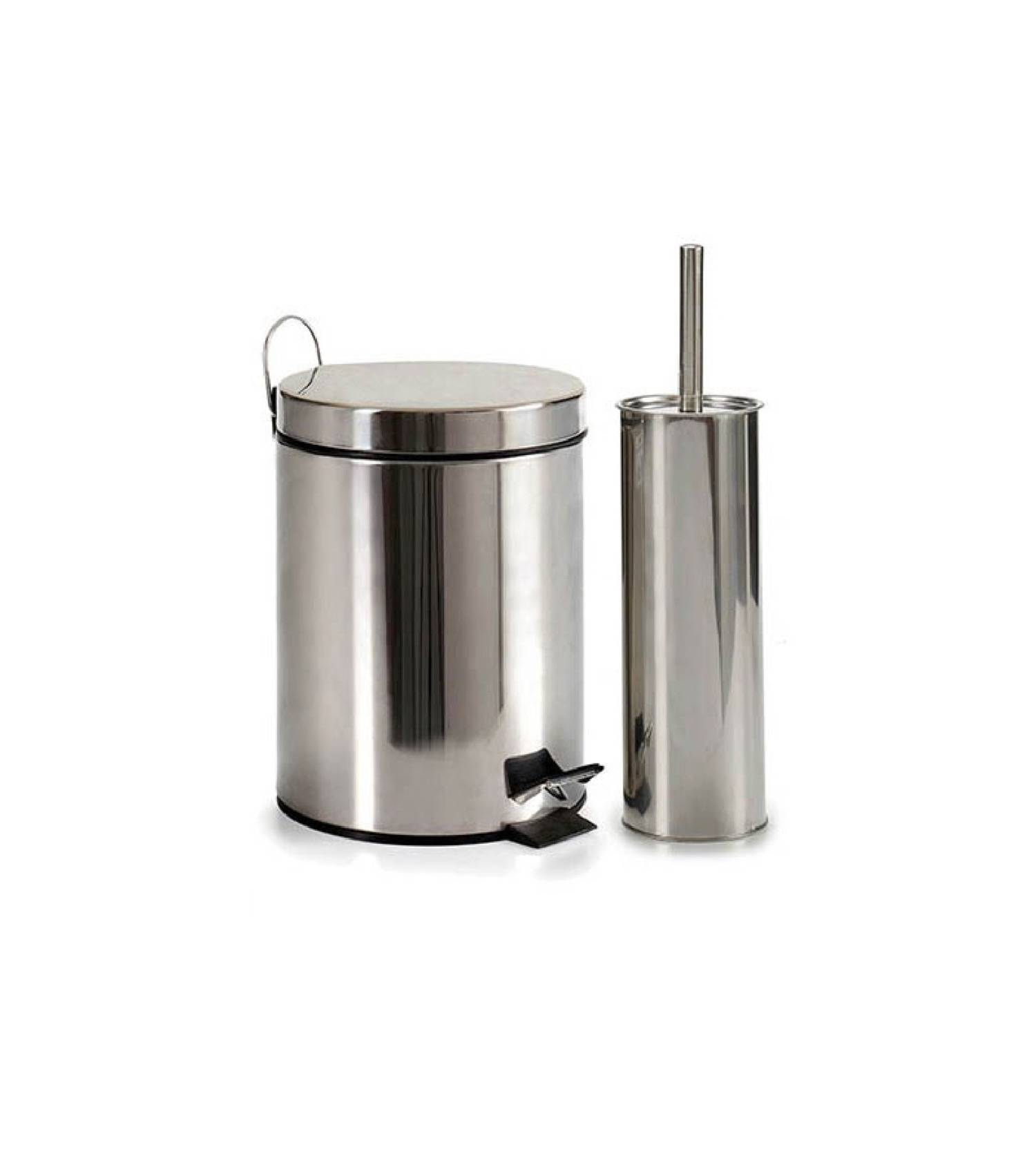 Wadiga Poubelle de salle de bain et brosse WC métal