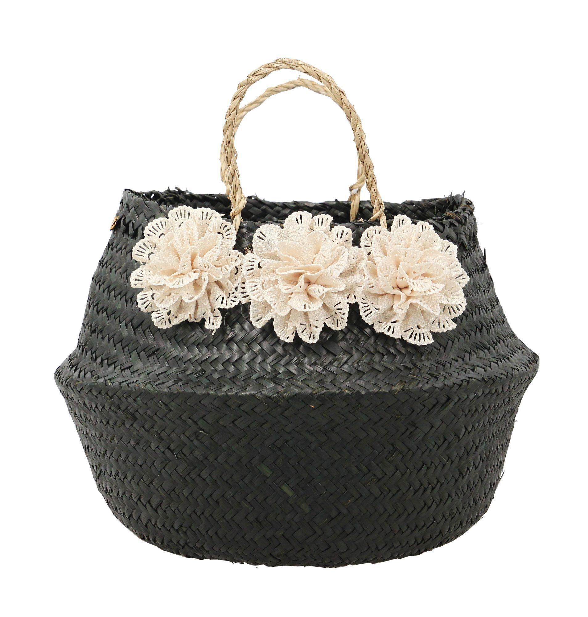 Now's Home Panier cache-pot en jonc noir avec fleurs blanches
