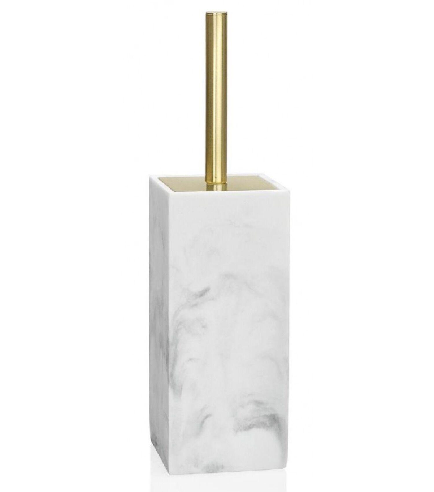 Wadiga Brosse WC en résine effet marbre blanc et métal doré