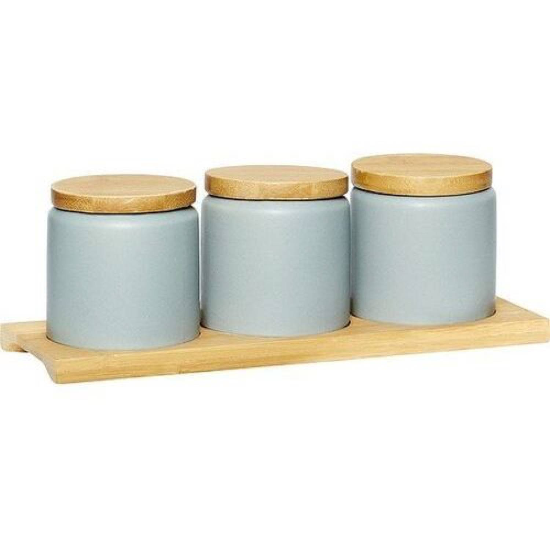 Hubsch Pots avec couvercle en céramique grise