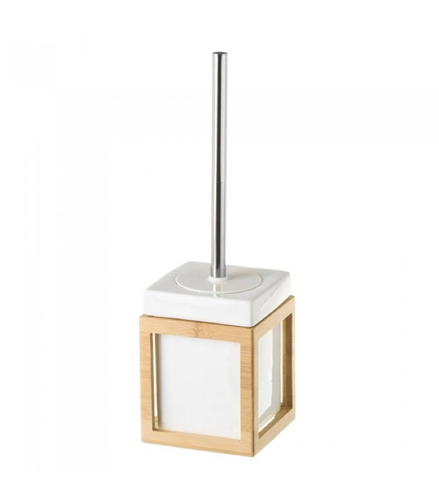 Wadiga Brosse WC en céramique blanche et bambou