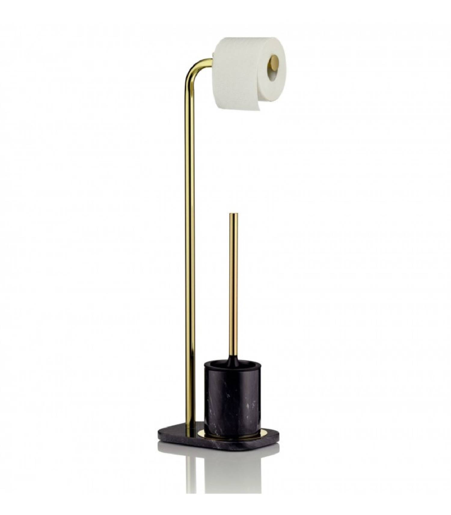 Kela Set dérouleur papier toilette et porte brosse WC métal doré
