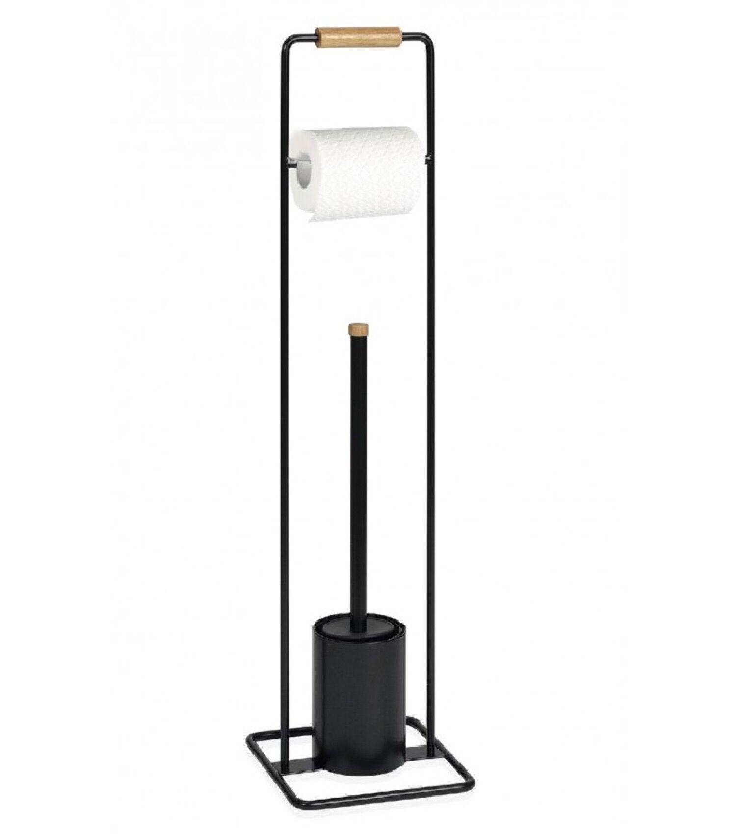Wadiga Dérouleur papier toilette et brosse WC en métal noir et bois