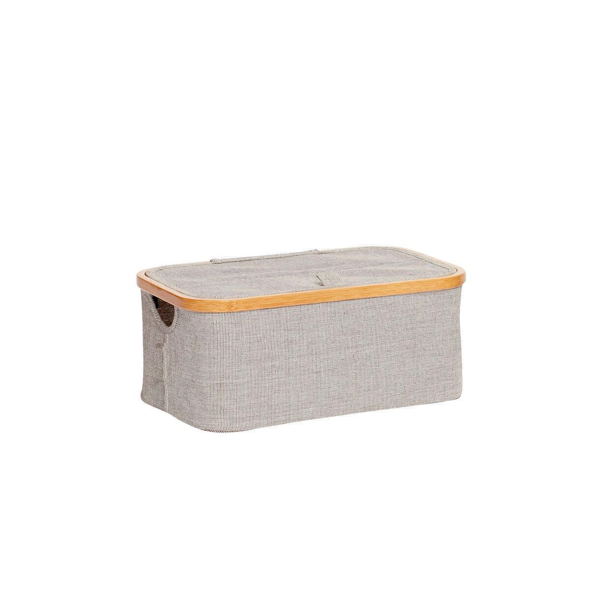 Hubsch Boîte de rangement avec couvercle en tissu et bambou gris