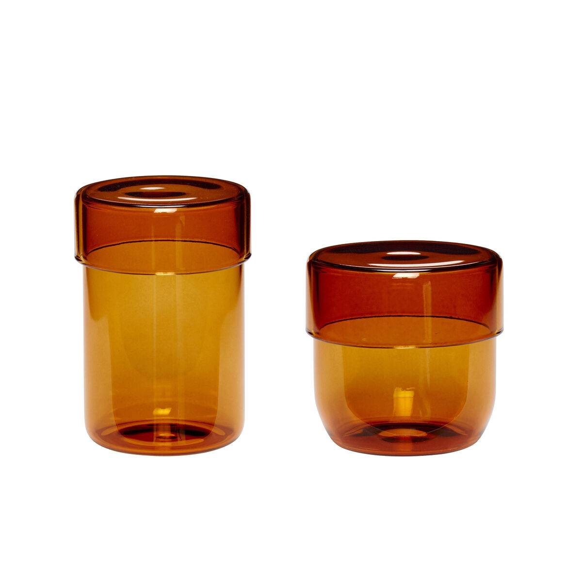 Hubsch Bocal avec couvercle en verre ambre (x2)