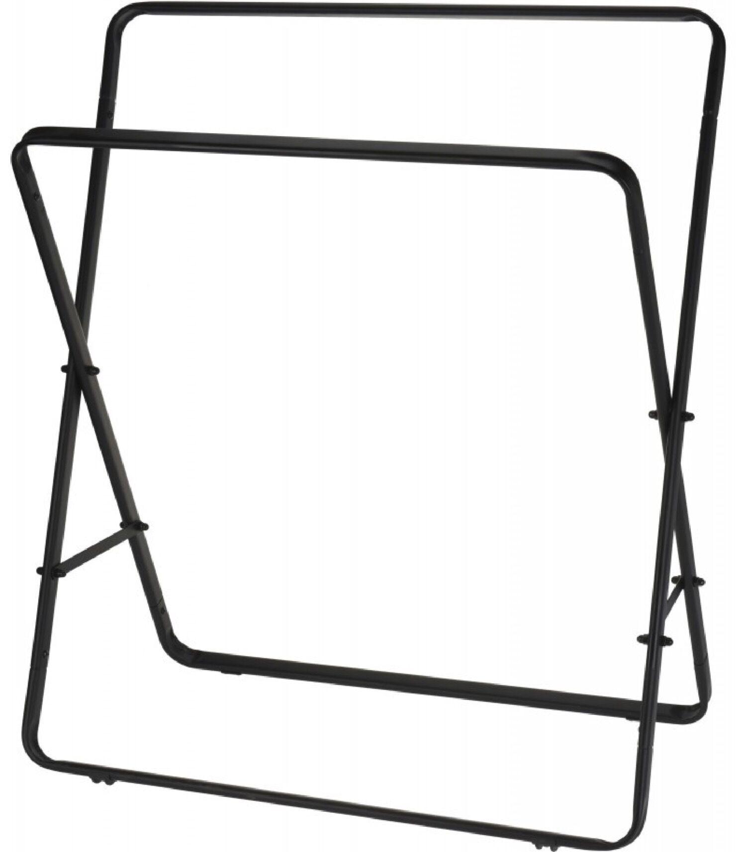 Wadiga Porte-serviettes sur pied en métal noir 2 bras