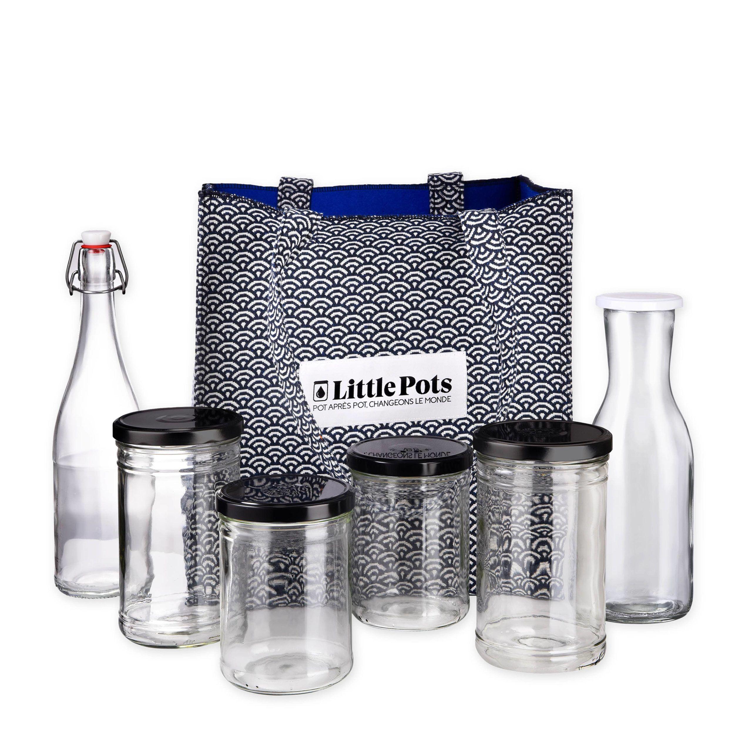 Little Pots Kit l'épicier cabas et contenants en verre pour courses en vrac
