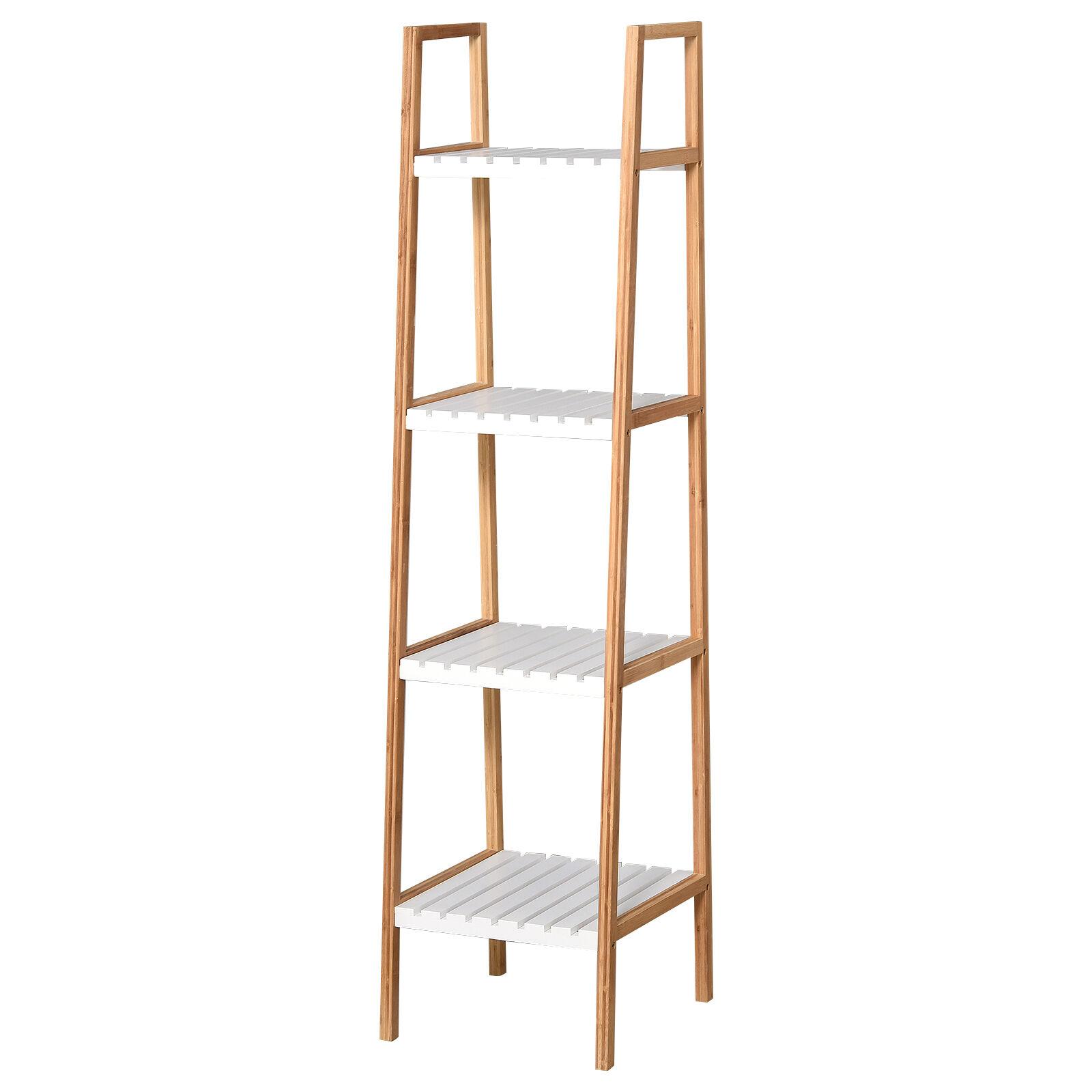 Homcom Etagre salle de bain bambou 4 niveaux bois pin blanc