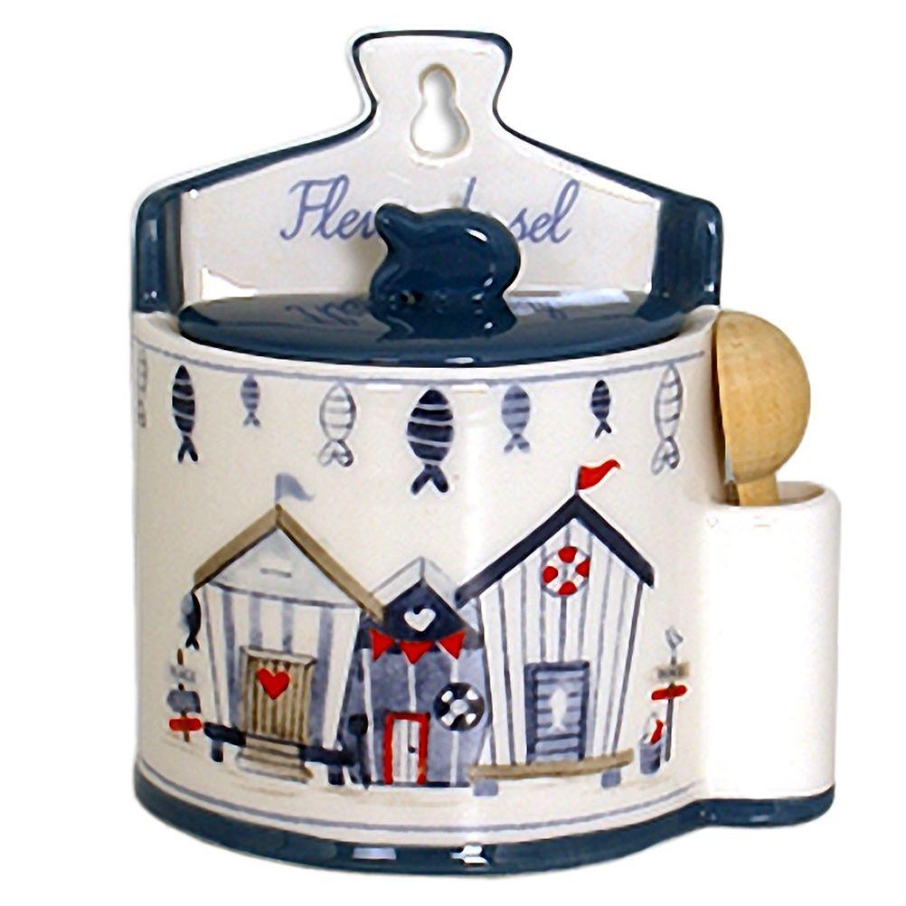 Faye Boite à gros sel en céramique avec cuillère