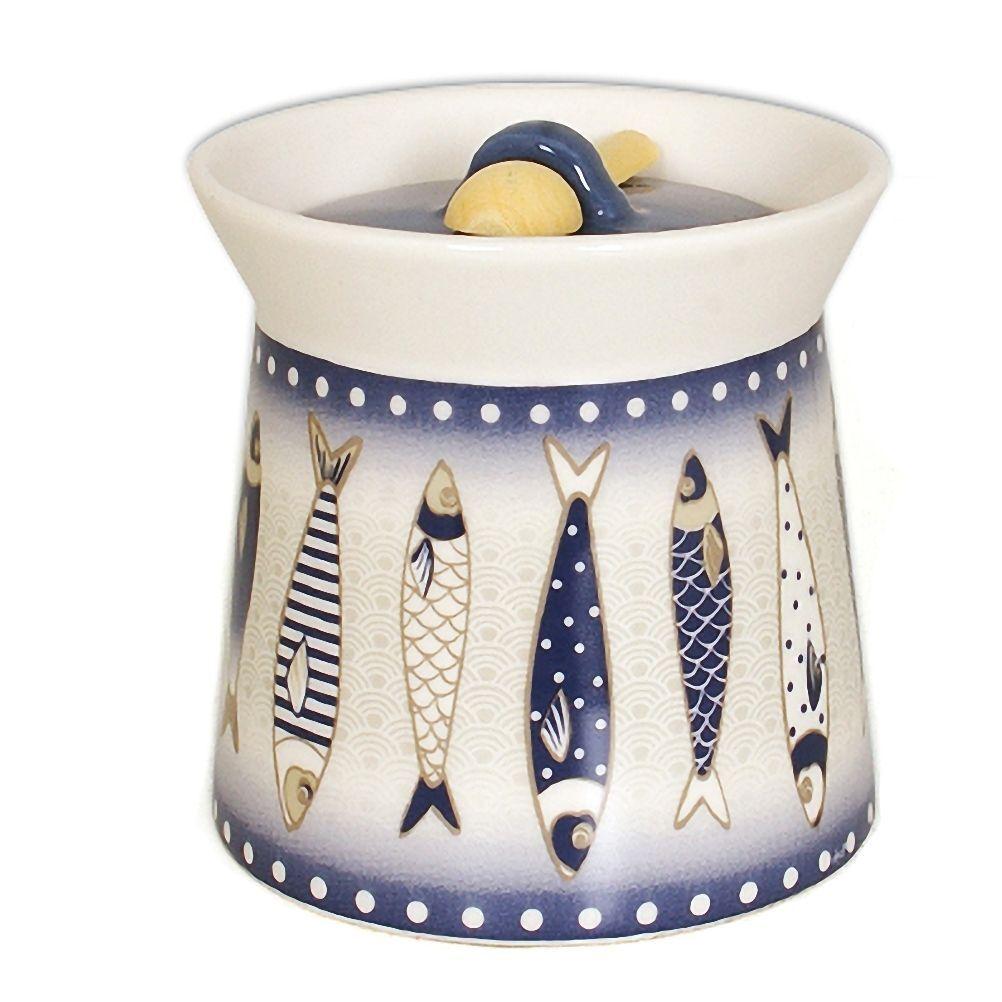 Faye Boîte à gros sel en céramique avec cuillère