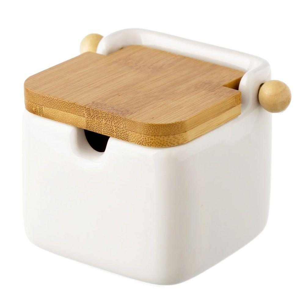 Unimasa Boite à sel en céramique et bambou