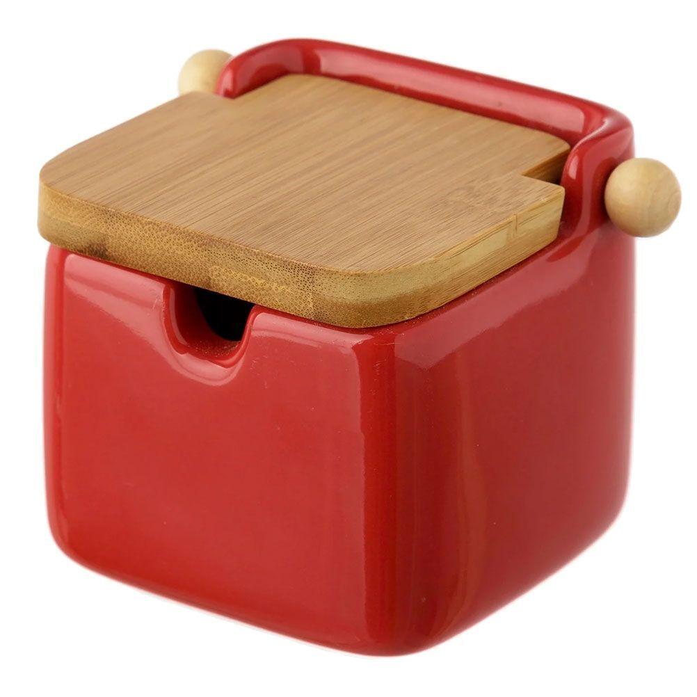 Unimasa Boite à sel en céramique rouge et bambou